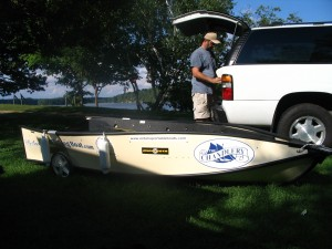 Photo of Lawrence setting up the Blind Fishing Porta-Bote